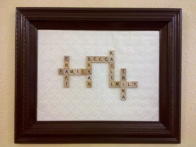 Scrabble tile art. Recycled picture frame, wrapping paper from Target, and double sided tape.