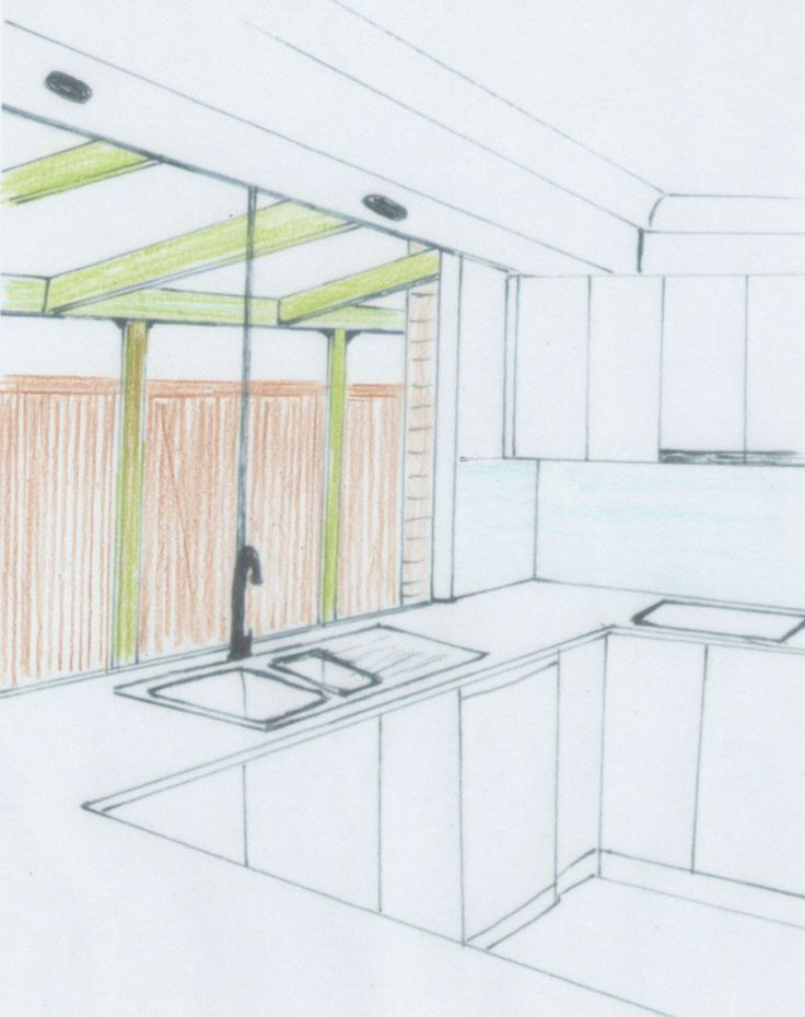 Sketch of Kitchen with new pergola outside by Lynette Nisbet