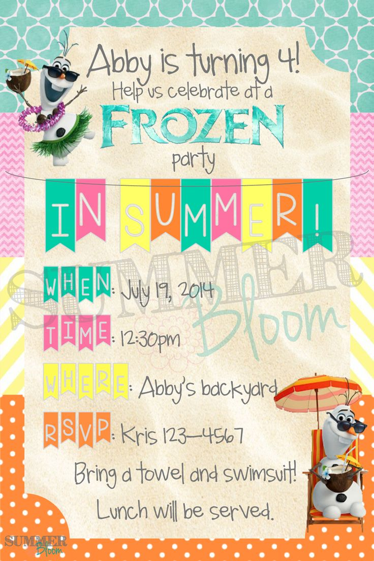 """Frozen and Olaf """"In Summer"""" themed Birthday Party Invitation from SummerBloom"""