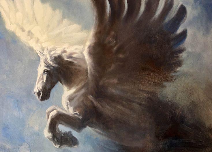 Pegasus, original oil Painting of a white winged horse by Canadian Artist Kindrie Grove by KindrieGroveStudios on Etsy