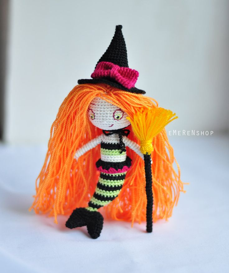 Witch - Stuffed Animal - Amigurumi witch - Witch crochet plush - Halloween decor - Amigurumi witch - Stuffed halloween toy by EMERENstore on Etsy