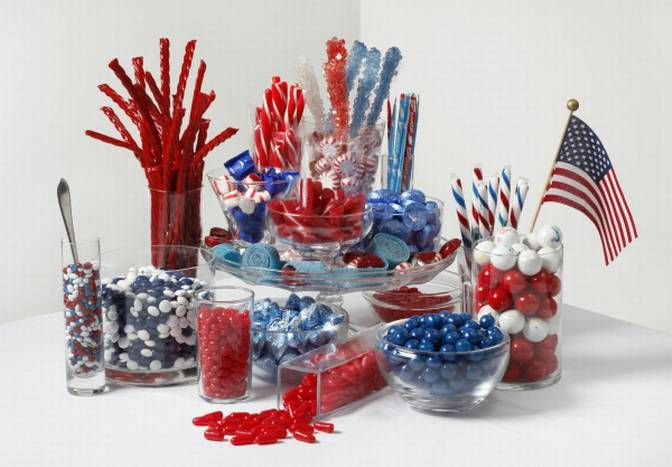 Make a fourth of july candy centerpiece using glass dishes