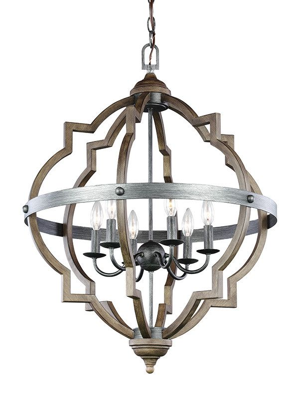 DIMENSIONS:  D: 25'' H: 31 3/4'' LAMPING:  6 Candelabra Torpedo 60w Max. LISTING:  Safety Listed for Damp Locations