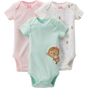 child of mine by carter's newborn girl onesie 3-pack #monkey #carters - $7.24
