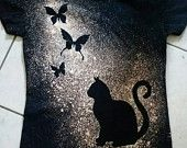 Items similar to Bleach spray Black shirt with cat and 3 butterflies tee shirt on Etsy