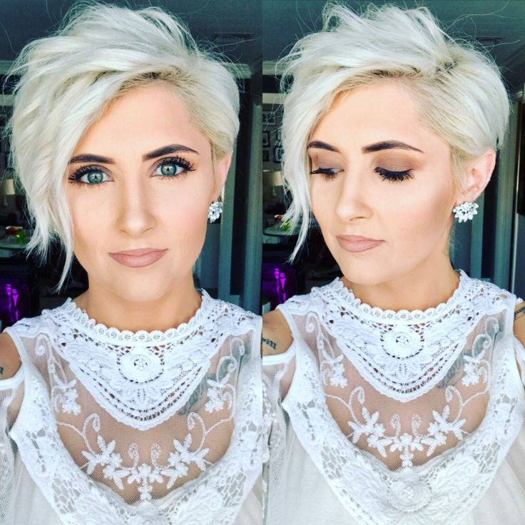 Platinum blonde pixie pixie haircut blonde pixie platinum pixie short pixie long side pixie Younique makeup nude lip look curly pixie