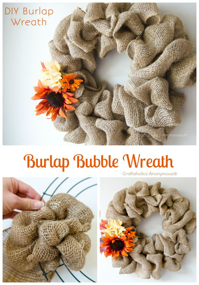 Fall Wreath: Burlap Bubble Wreath Tutorial. Easy easy easy wreath! #fall #wreath