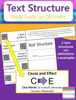 Text Structure Study Guide with QR codes! This Text Structure study guide contains 5 text structures with a definition & example passage (for 10 study points total). With an iPad or Smartphone, the QR codes link each text structure vocabulary word to a labeled image of the described term.