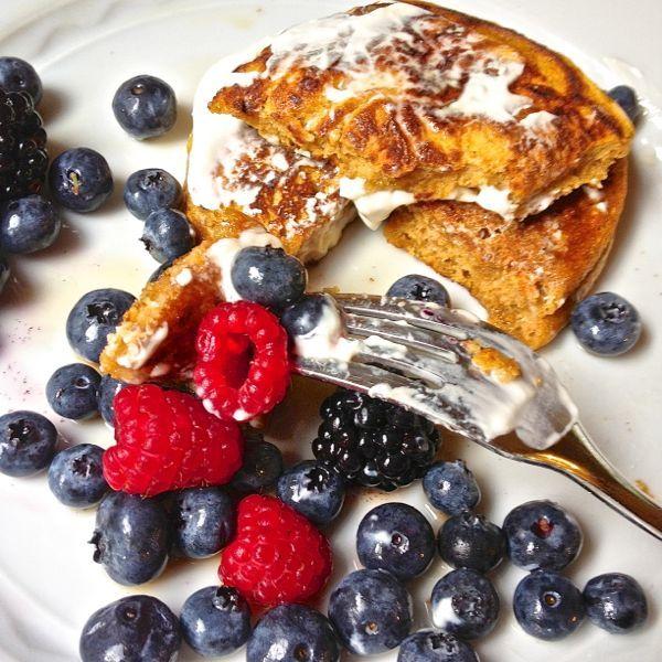 Gluten Free Pumpkin Pancakes with Greek Yogurt Maple Topping