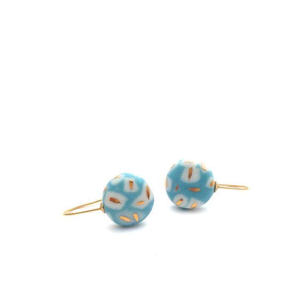 porselein pastel oorbellen van ebben hout verklaring oorbellen, bengelen oorbellen Turquoise Cirkel oorbellen, porselein, juwelen, gouden porselein, door OeiCeramics