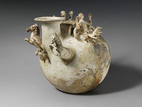Terracotta askos (flask with a handle over the top) | Greek, South Italian, Canosan | Hellenistic | The Met