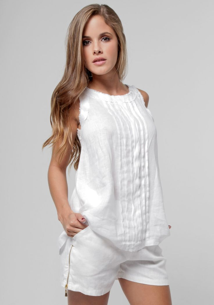 100% Linen Babydoll Pleated Tank in White | Shop | Claudio Basic