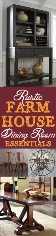 Rustic Farmhouse Dining Room Essentials ~ Here are five pieces – from floor to ceiling – your rustic farmhouse dining room shouldn't be without! | #Ad