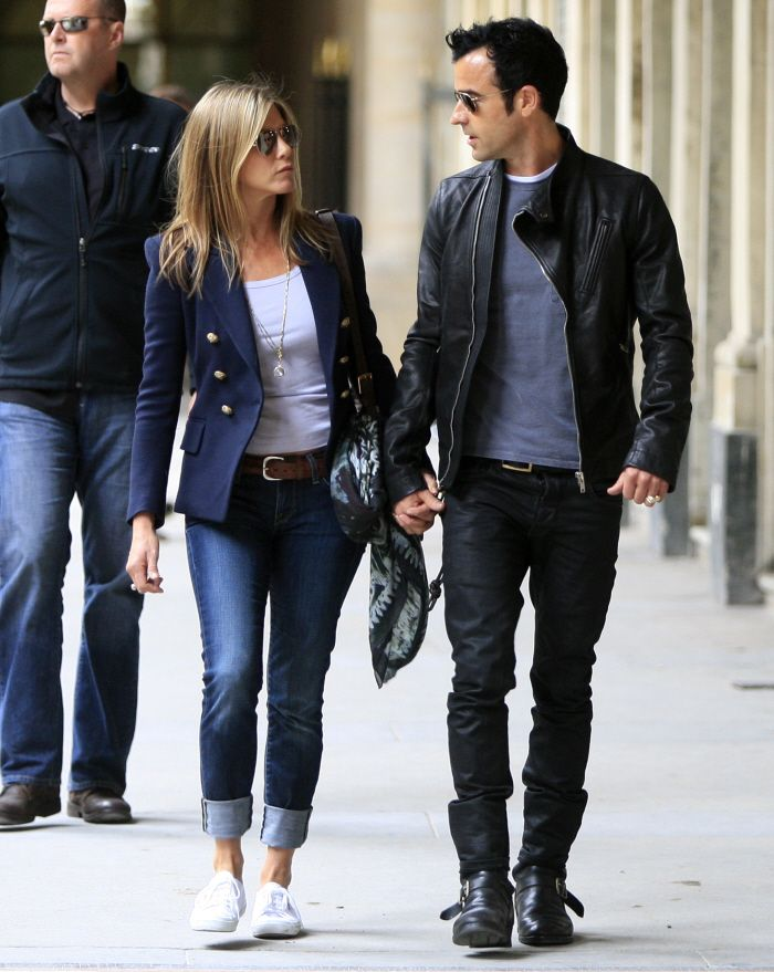 Ms Aniston - blazer, cropped jeans, and keds