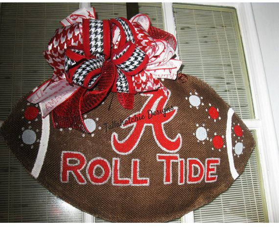 Alabama Crimson Tide Burlap Football Roll by TallahatchieDesigns