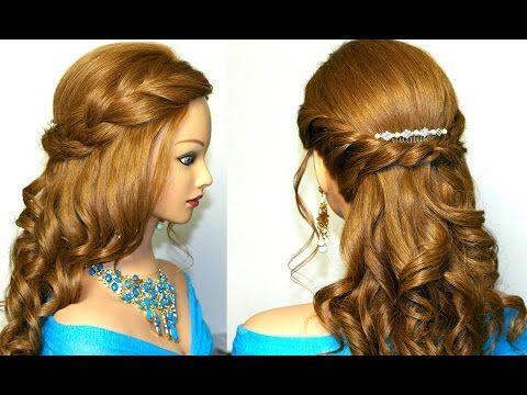 Romantic prom hairstyle for medium long hair. Романтическая прическа на выпускной на длинные волосы - YouTube