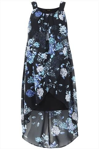 Multi Floral Smudge Print Wrap Dress With Dipped Hem