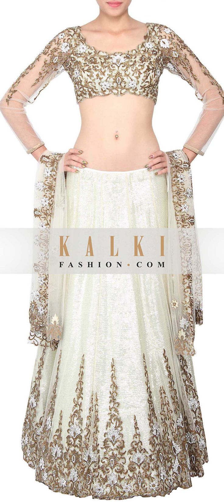 Buy Online from the link below. We ship worldwide (Free Shipping over US$100) http://www.kalkifashion.com/cream-embroidered-lehenga-only-on-kalki.html