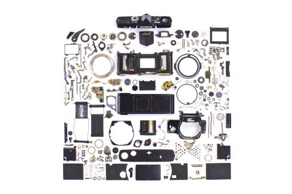 Olympus OM2 Exploded View Fine Art Print  Camera by FStopCameras