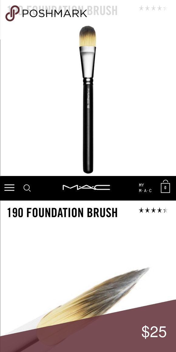 MAC Foundation Brush Pro-quality. A foundation brush designed to create a smooth, even finish and a flawless look. Works well with any M·A·C foundation, including Studio Fix and Studio Tech. Use to apply, distribute and blend foundation into all areas of the face. M·A·C professional brushes are hand-sculpted and assembled using the finest quality materials. They feature wood handles and nickel-plated brass ferrules. ** barely used like new** MAC Cosmetics Makeup Brushes & Tools