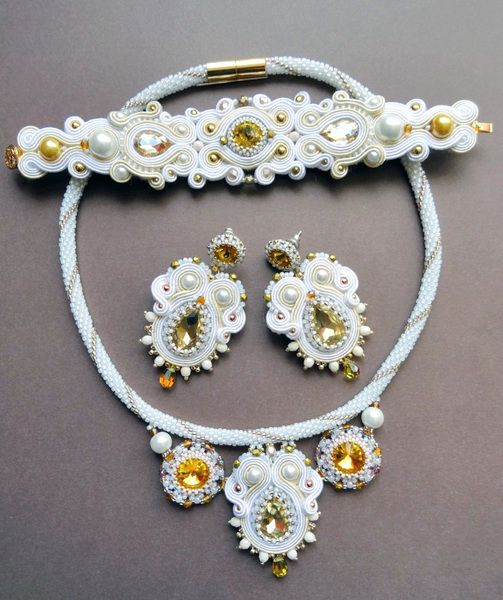 Wedding soutache set - Nimfa 05 w VAKARAS Jewellery by Slomkad na DaWanda.com