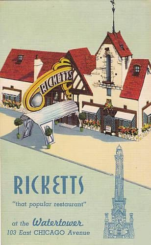 RICKETTS RESTAURANT - 103 EAST CHICAGO - MENU COVER