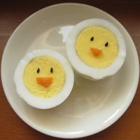 Chickadee Hard Boiled Eggs -- Cute idea for Easter breakie.