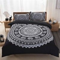 Wish | Bohemia Style bedding sets 3d bedclothes black duvet cover sets king/queen size bed linen bed sheet sets bed set