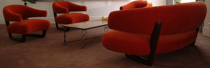 "Jean Royere ""Sculpture"" sofa and pair of armchairs circa 1950"
