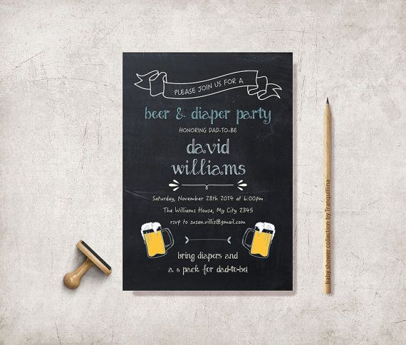 Beer and Diaper Party  Invitation Printable by tranquillina