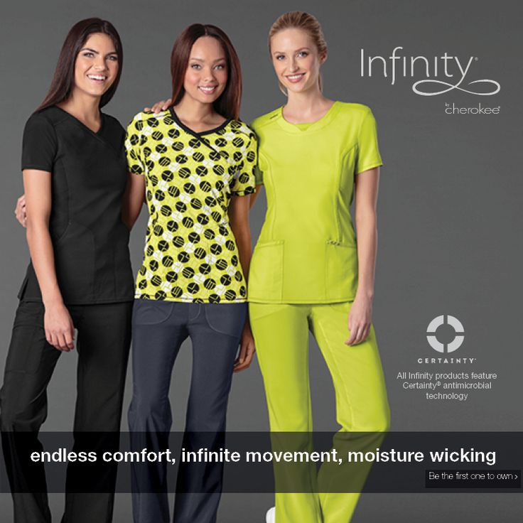 Cherokee's new antimicrobial collection, Infinity, is an athletic-inspired lifestyle collection. Designed for fit and performance, Infinity features new CERAINTY® fabric technology, which eliminates 99.99% of all bacteria on the fabric.