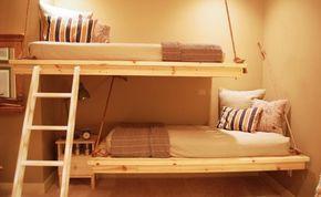 idée de lits superposés et suspendus en bois                                                                                                                                                                                 Plus