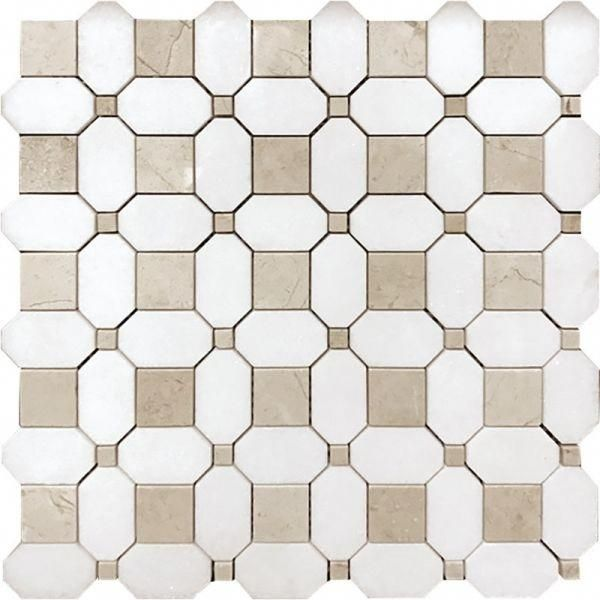 Costera Thassos White Crema Marfil Marble Mosaic Tile Marble Mosaic Tiles Marble Mosaic Shower Floor Tile