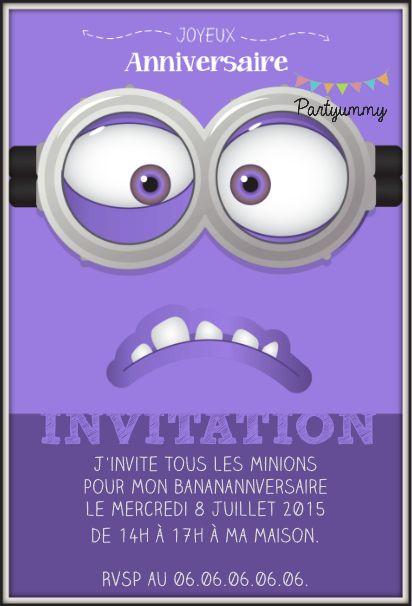 Invitation minion violet gratuite à télécharger et personnaliser Free printable invitation