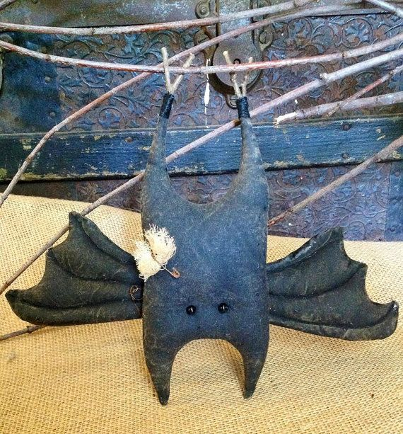 Adorable Stuffed Bat Primitive Halloween by BeaverBoutiquePrim