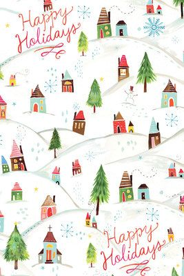 Holiday Gift Wrap - Katie Daisy Winter Town
