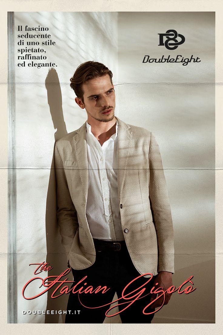 The Italian Gigolò - Adv Campaign Spring/Summer 2016 #DoubleEight è la chiave di un guardaroba maschile dove stile, fascino seduttivo ed eleganza si fondono con l'urban nel costruire un'immagine unica. #TheItalianGigolo #Menswear #jacket #giacca http://www.doubleeight.it/the-italian-gigolo-adv-campaign