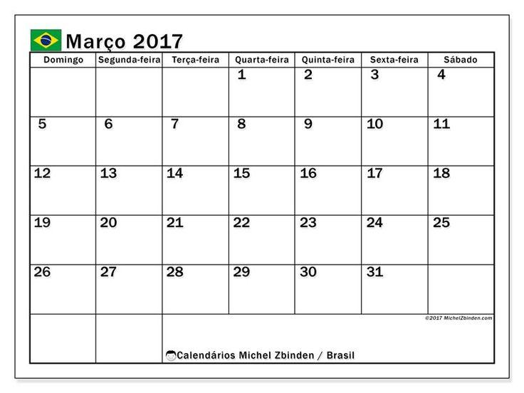 """Calendário março 2017 """"Feriados públicos Brasil Tiberius"""" por Michel Zbinden (Brasil)"""