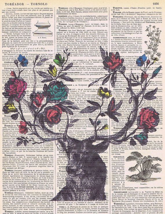 Roses.Flowers.Deer,Antique Book Page Print gift/ home ...