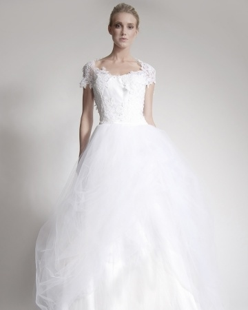 Ball gown with a lace cap sleeve. Elizabeth St. John 2013.