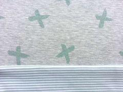 Doubleface Sweat Glitzerkreuze/Ringelstreifen mint