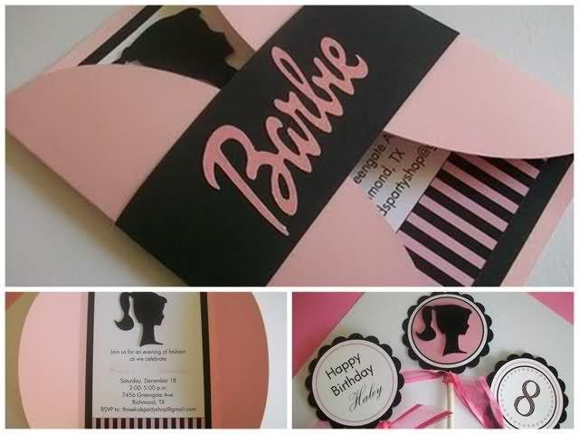 "DIY ""Barbie"" theme birthday party using the ""Barbie-head"" silhouette!!!"