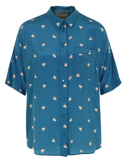 Antipodium Lounge Lovers Womens Blue Silk Shirt With An