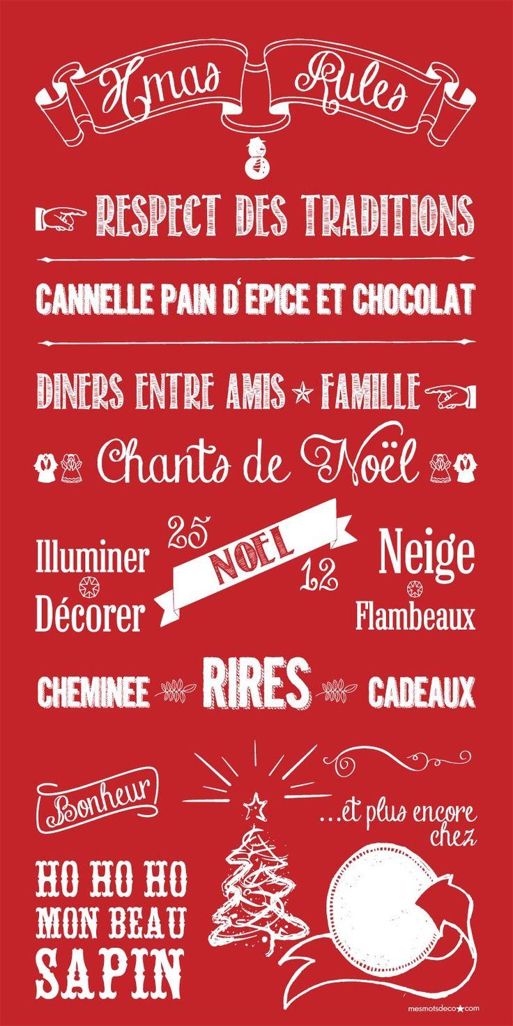 NOEL - CHRISTMAS RULES le magnet Mes Mots Déco à personnaliser avant d'offrir ou d'afficher !: