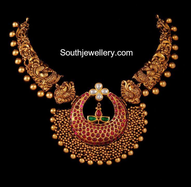 Peacock Nakshi Necklace with Ruby Gajjalu Pendant photo