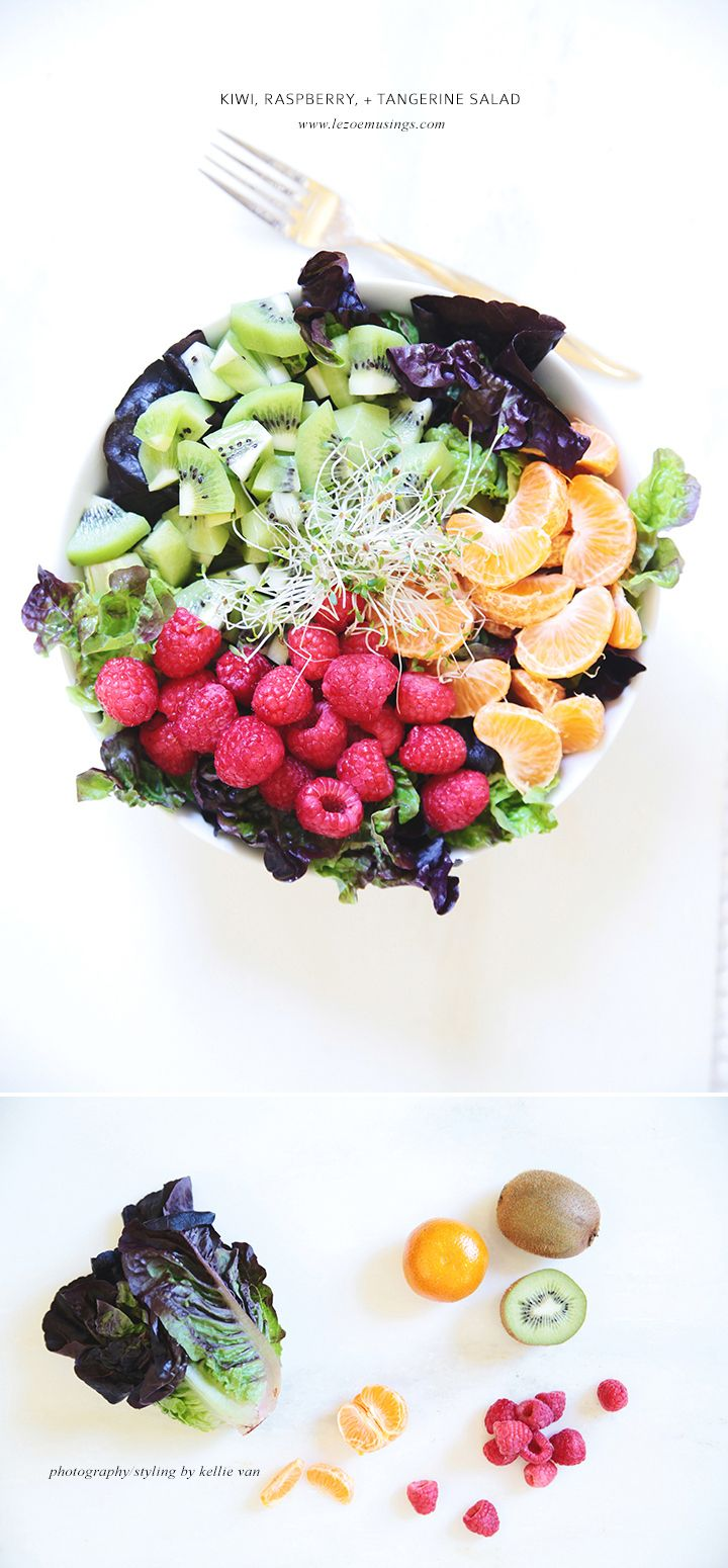 Kiwi raspberry and tangerine salad by Le Zoe Musings