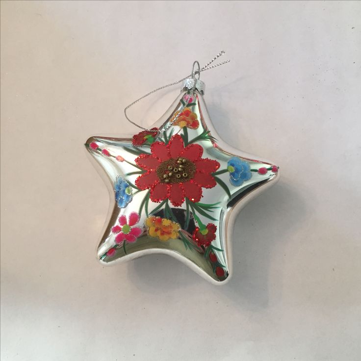 Silver Painted Star-Shaped Ornaments | glass | 4 ornaments | Bought at Target (not sure if these are Mexican design but they fit with the rest)