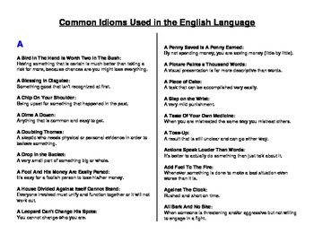using idioms in essay writing Using relevant and suitable idioms in an essay will help students to get a better mark for their essay don't simply use idioms just for the sake of getting better grades for your essay paper, this will backfire if the idioms you use are irrelevant or out of place.