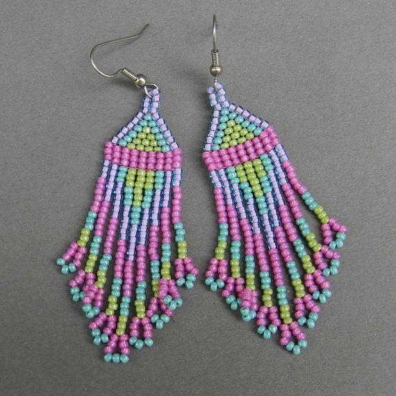 Multicolor beaded earrings by Anabel27shop on Etsy,
