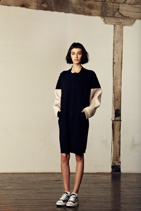 M.Patmos F/W 2014, black and beige sweater dress, black and white striped sneakers / Garance Doré